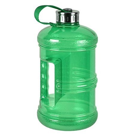Liter Water Bottle - 3 Liter BPA Free Reusable Plastic Drinking Water Bottle Jug Container w/ Hand Holder Canteen and Stainless Steel Cap