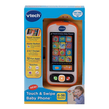 VTech Touch and Swipe Baby Phone, 15 melodies,teach ABCs, 123s and first words , 12 pretend apps,