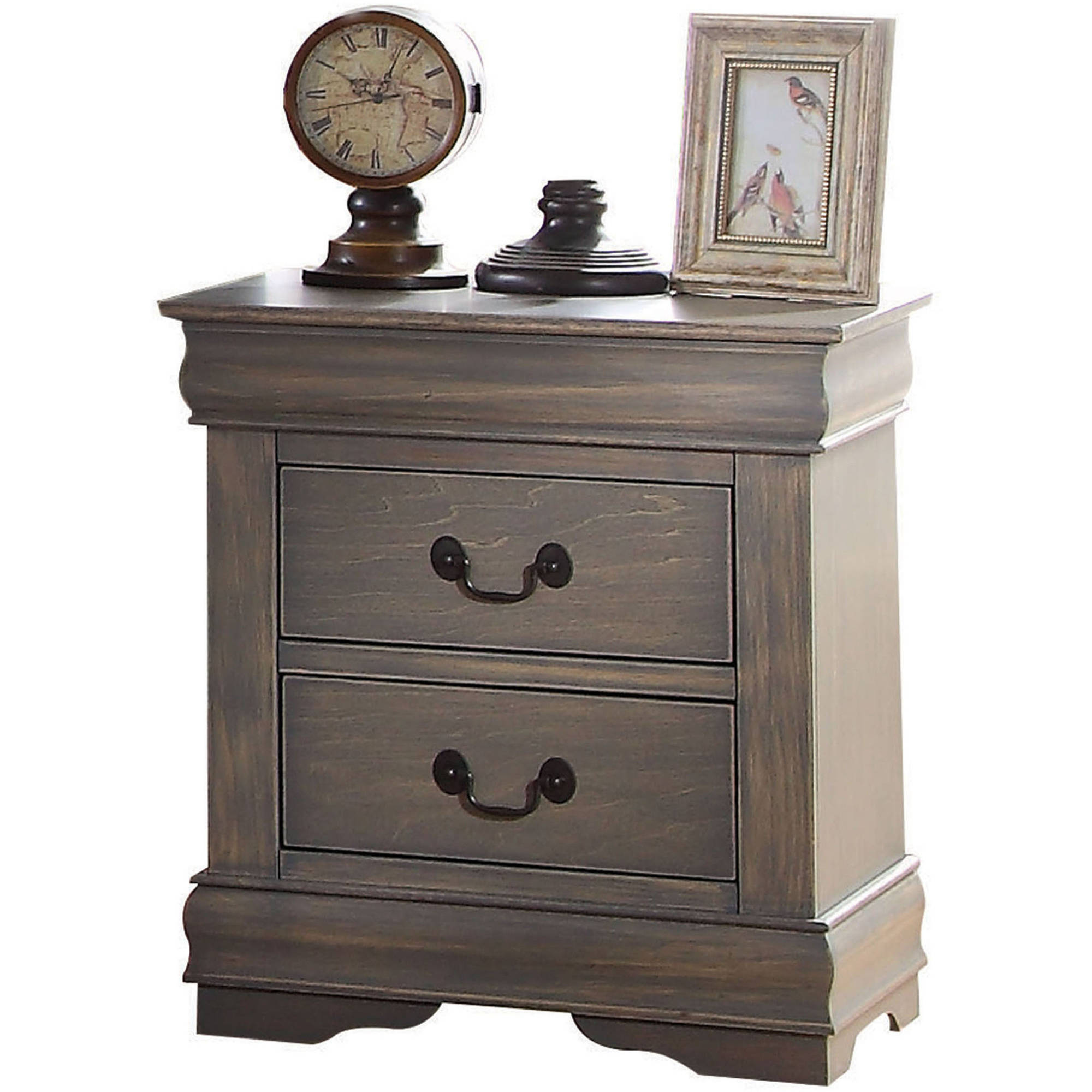 acme louis philippe nightstand antique grey