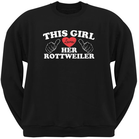 Rottweiler Adult Sweatshirt - This Girl Loves Her Rottweiler Black Adult Crew Neck Sweatshirt