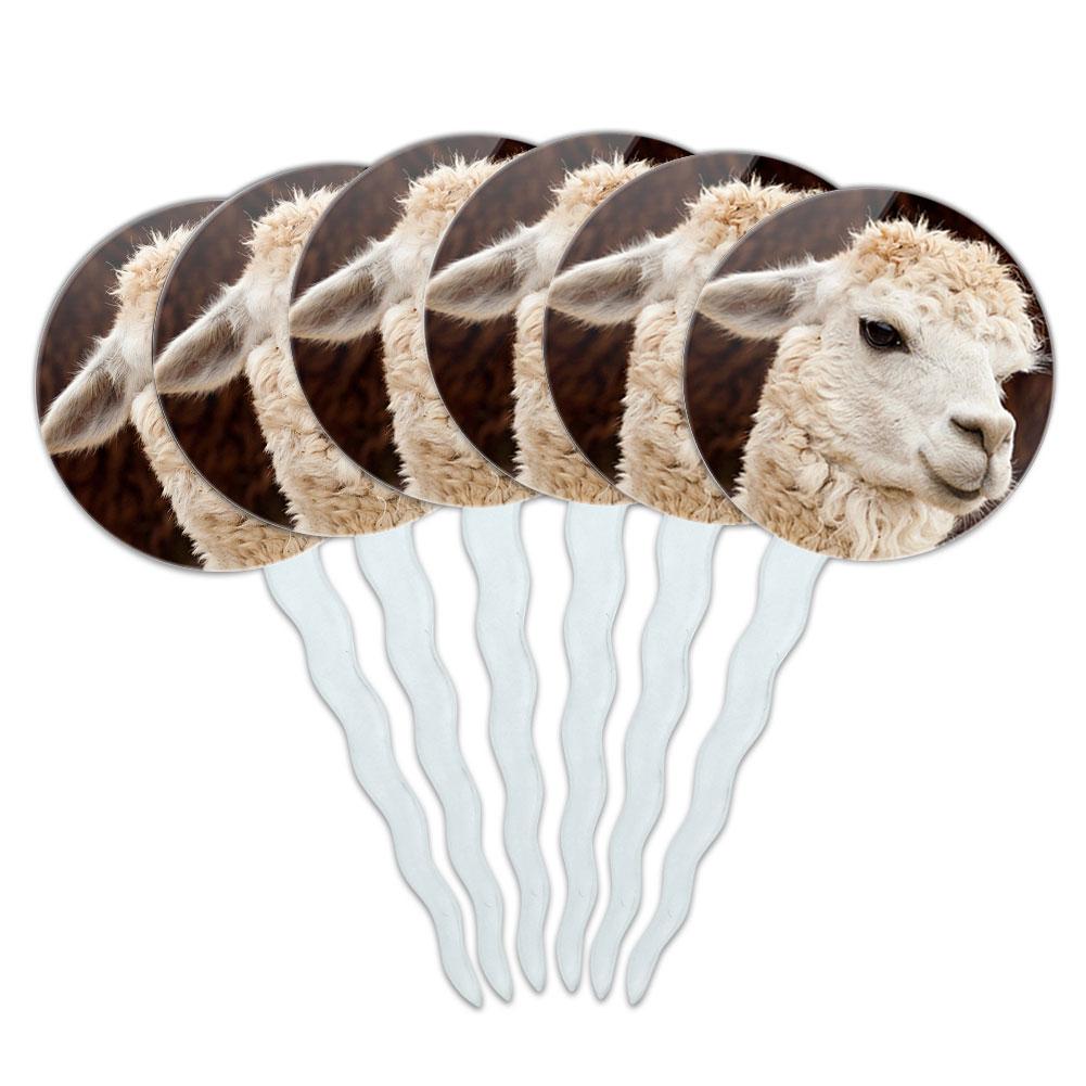 White Llama Cupcake Picks Toppers - Set of 6