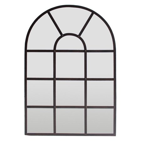 Three Hands Metal Grid Wall Mirror with Arched Top