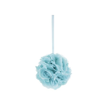 Mega Crafts - Aqua Artificial Rose Pomander Kissing Ball 6'' | Hanging Ribbon Fabric Flower Décor | Wedding Receptions, Party Decorations, Backdrop Wall, Events, Birthdays & Baby Showers (Make Fabric Wall Hanging)