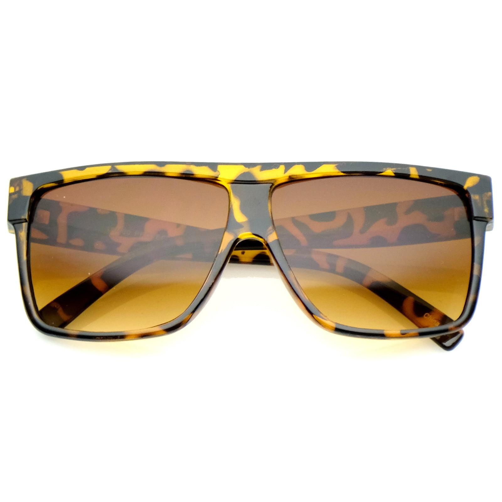 sunglassLA - Oversize Flat Top Wide Temples Square Aviator Sunglasses 61mm - 61mm
