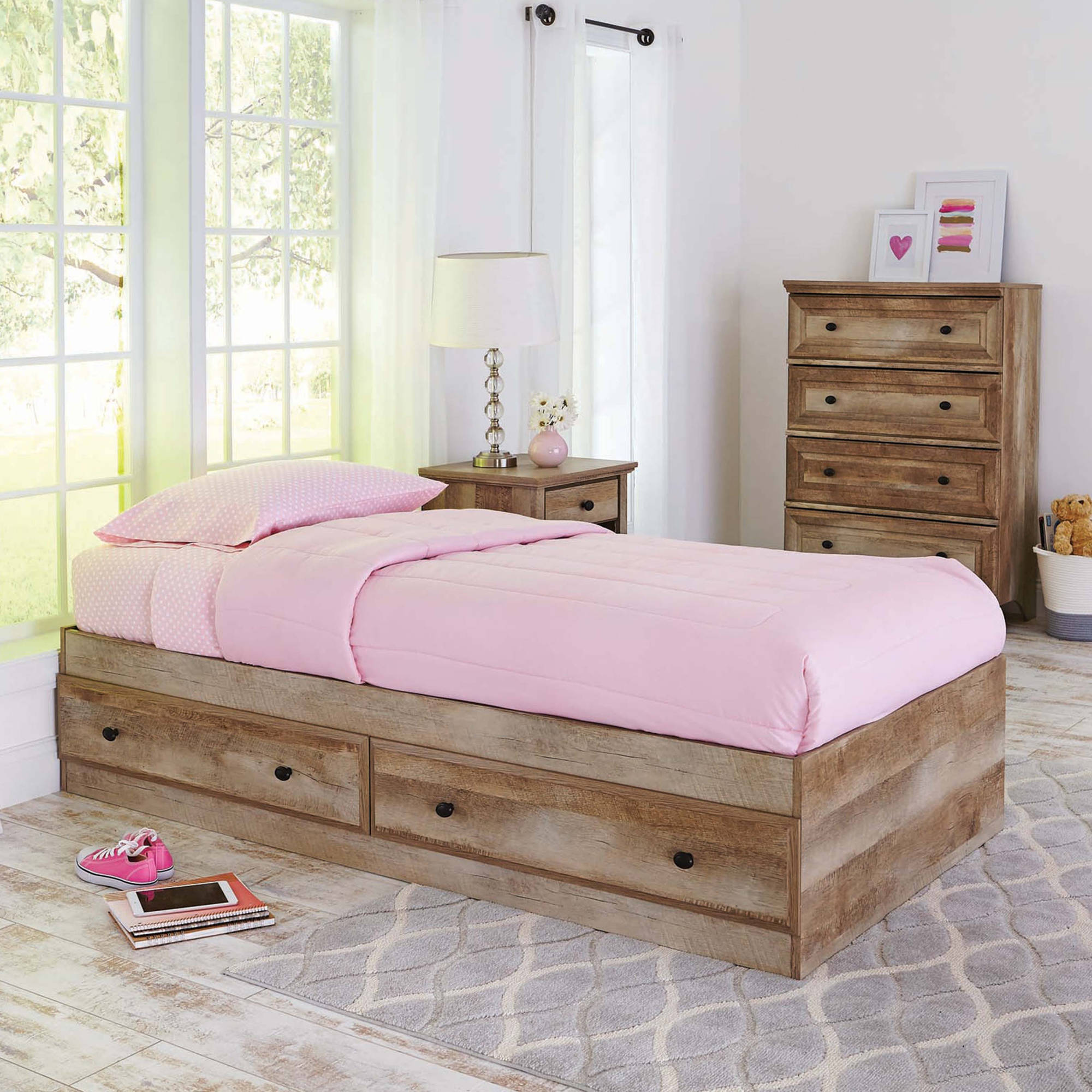 Better Homes and Gardens Crossmill Mates Twin Bed with Storage, Weathered Finish