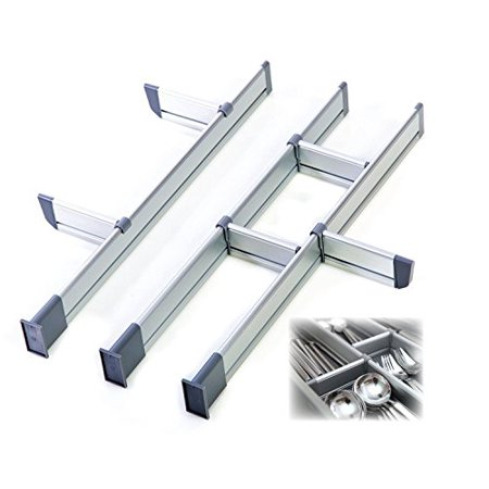 Modular Drawer Organizers (Practical Comfort Adjustable Kitchen Drawer, Elegant Aluminum Modular Organizer 3 Divider Set for Drawers, 17.5