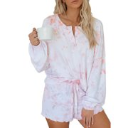 Selfieee Women's Tie Dye Loungewear Pajama Sets Drawstring Shorts and Shirts 30002 Pink Medium