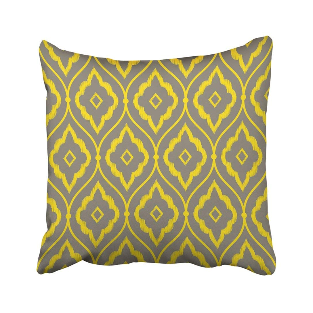 BPBOP Abstract Gray And Yellow Vintage Persian Ikat Pattern Beautiful Geometric Graphic Line Old Pillowcase Pillow Cover 20x20 inches