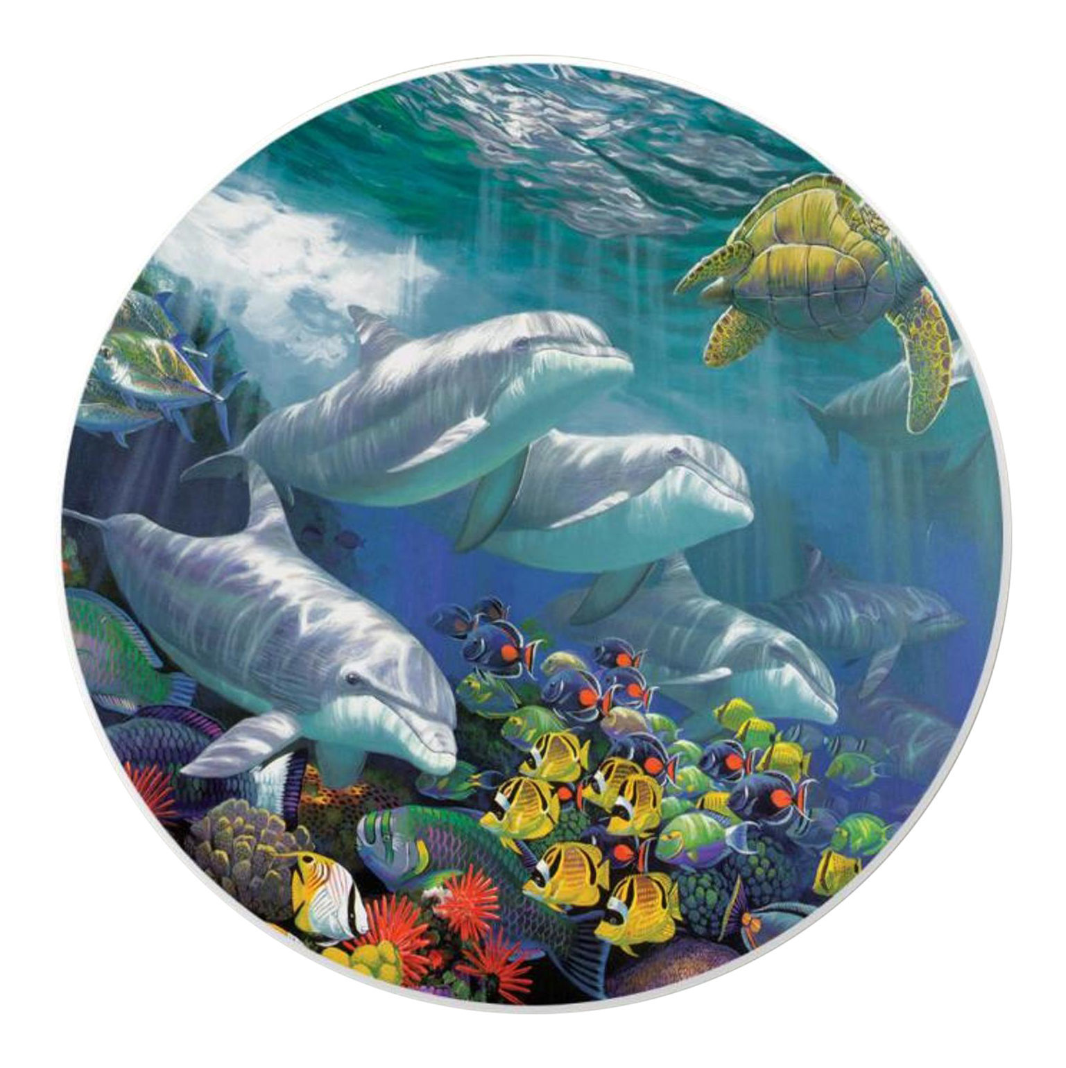 Nautical Dolphins Absorbent Cupholder Auto Coasters Set of 2