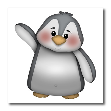3dRose Cute Waving Gray and White Penguin Illustration - Quilt Square, 6 by 6-inch