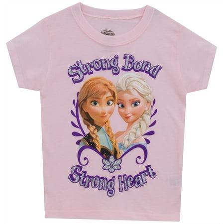 Frozen Anna Elsa Strong Bond Strong Heart Disney Movie Juvy Girls T-Shirt Tee - Elsa Girls Shoes