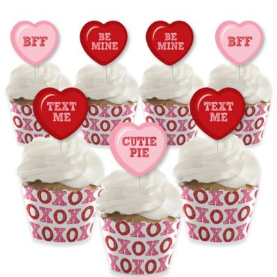 Valentine Candy Heart Cupcake Topper Set of 6 conversation heart cupcake picks with Galentines theme