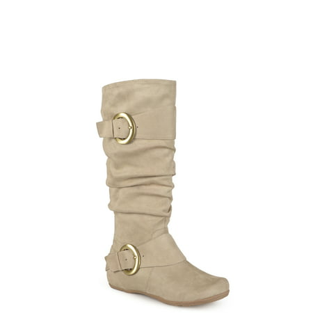 Women's Buckle Knee-High Slouch Microsuede Boot Camel Women Boot