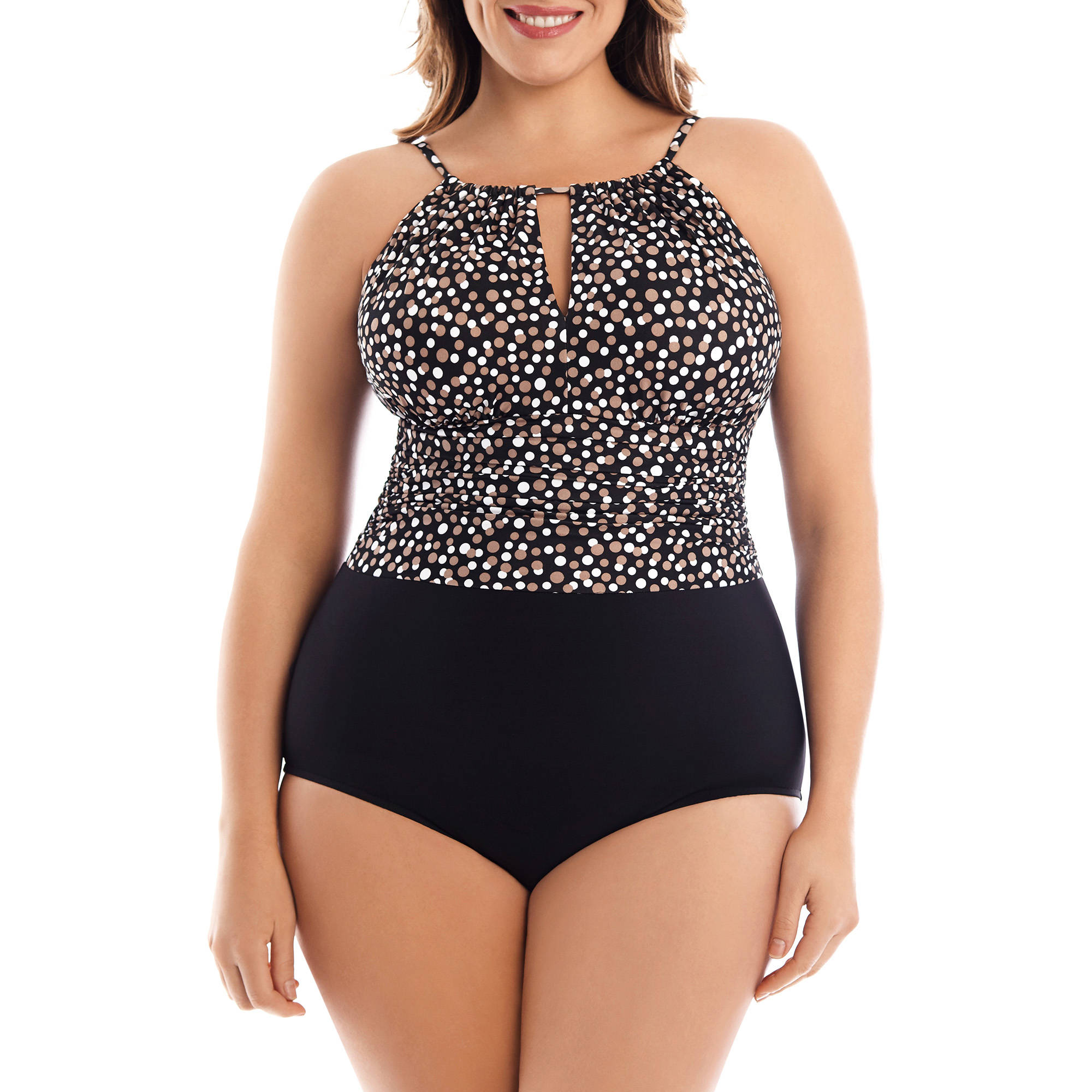 Women's Plus-Size Slimming High-Neck Halter One-Piece Swimsuit