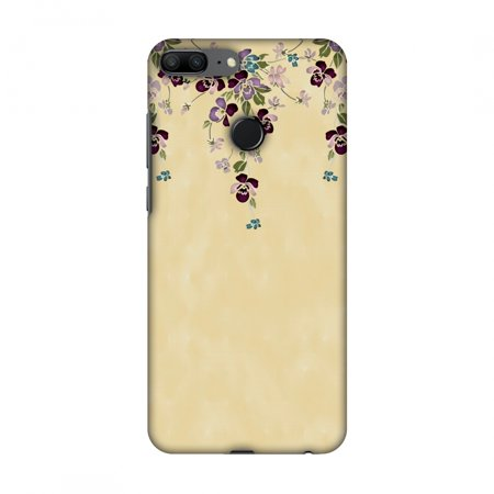 Yellow Butterfly Snap (Huawei Honor 9 Lite Case - Butterfly poppy- Violet and pale yellow, Hard Plastic Back Cover, Slim Profile Cute Printed Designer Snap on Case with Screen Cleaning Kit )