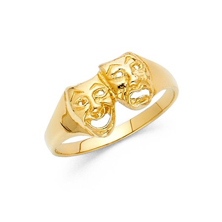 14K Solid Yellow Gold Engraved Comedy Tragedy Mask Ring, Size - Comedy Tragedy Ring