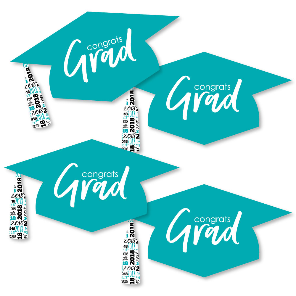 Teal Grad - Best is Yet to Come - Graduation Hat Decorations DIY Turquoise 2018 Graduation Party Essentials - Set of 20