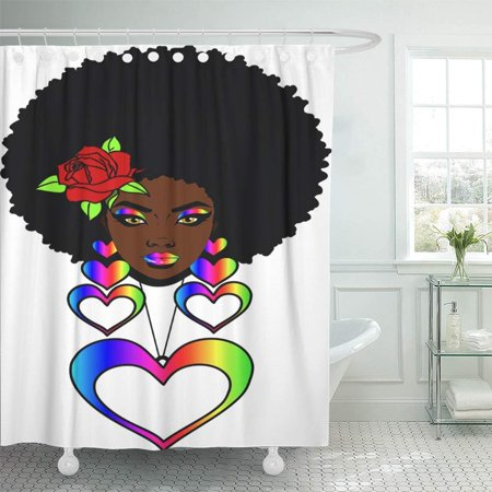 PKNMT Beautiful Black Woman with Afro Hairstyle Rose and Heart Necklaces Love Full Shower Curtain Bath Curtain 66x72