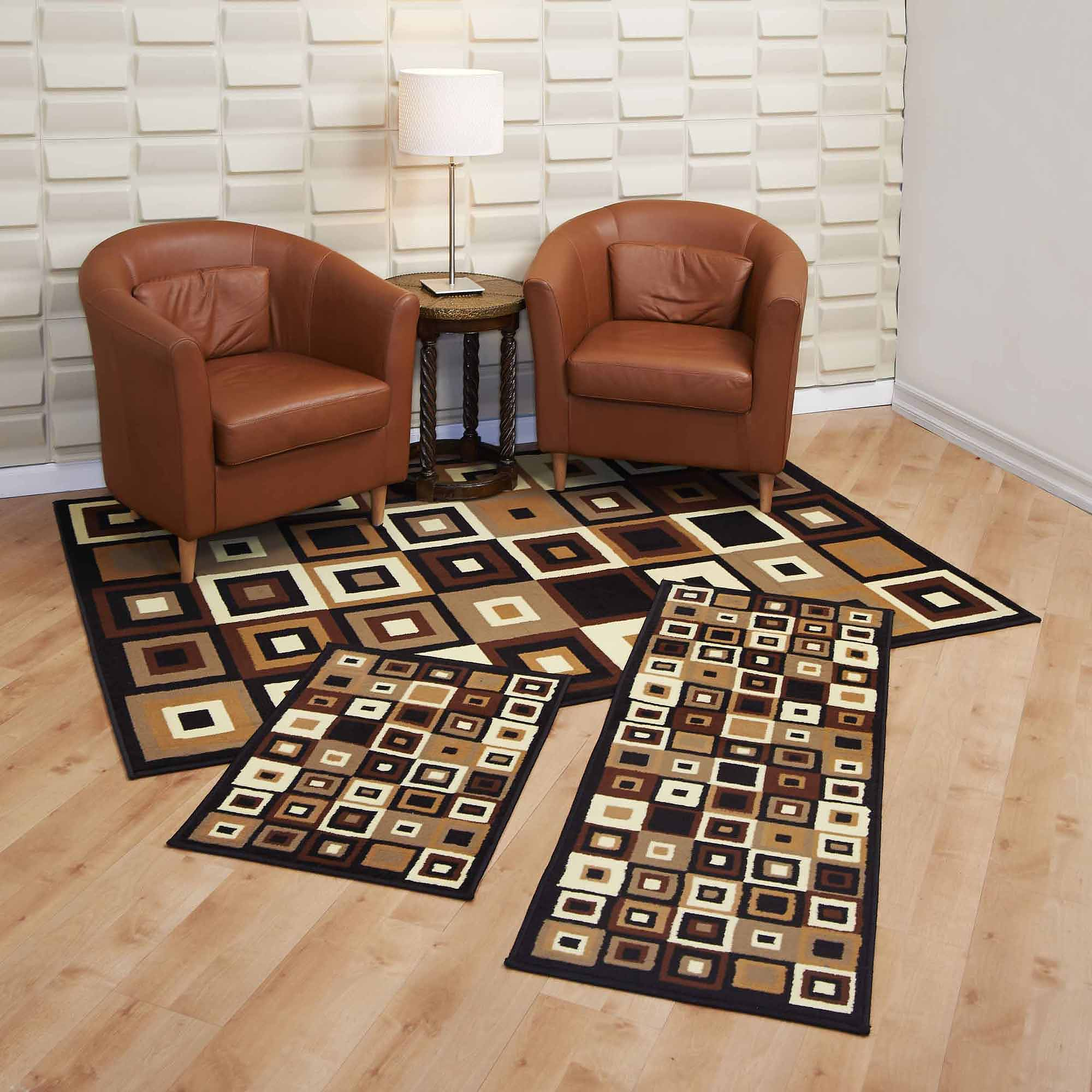 Home Dynamix Ariana 3 Piece Area Rug Set Black Red