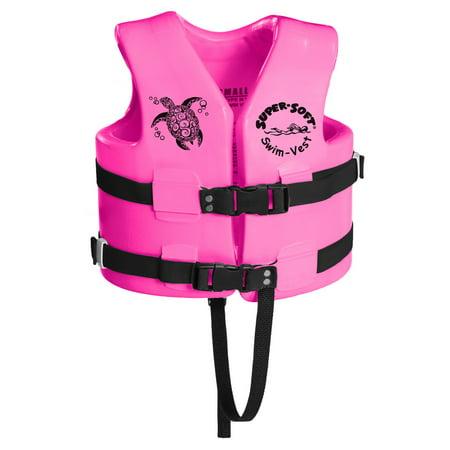 TRC Recreation Super Soft USCG Childs Foam Swim Vest, S, Flamingo Pink
