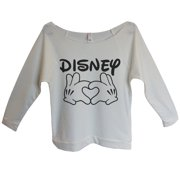"Womens Disney 3/4 Sleeve ""Disney Love"" Disney World Sweat Shirt Gift Small, Beige"