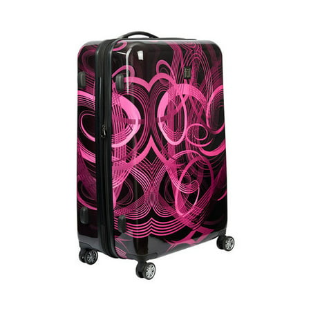 FUL Atomic 20 Inch Expandable Spinner Rolling Luggage Suitcase, ABS Hard Case, Upright, Pink Upright 22 Expandable Carry On