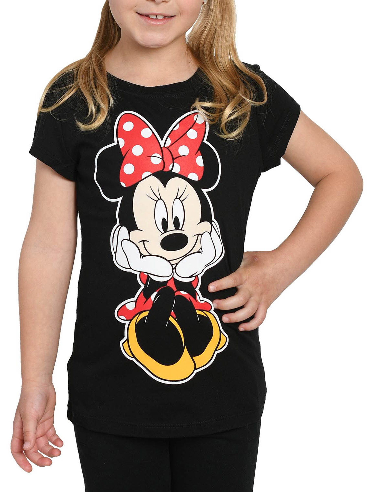 Licensed Disney Minnie Mouse Character Design Girls Short Sleeves Day Dress in Red