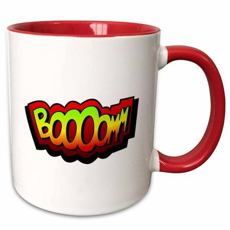 3dRose Super hero fight expression Boom fist fistfight superhero Booom Boooom explosion - Two Tone Red Mug,