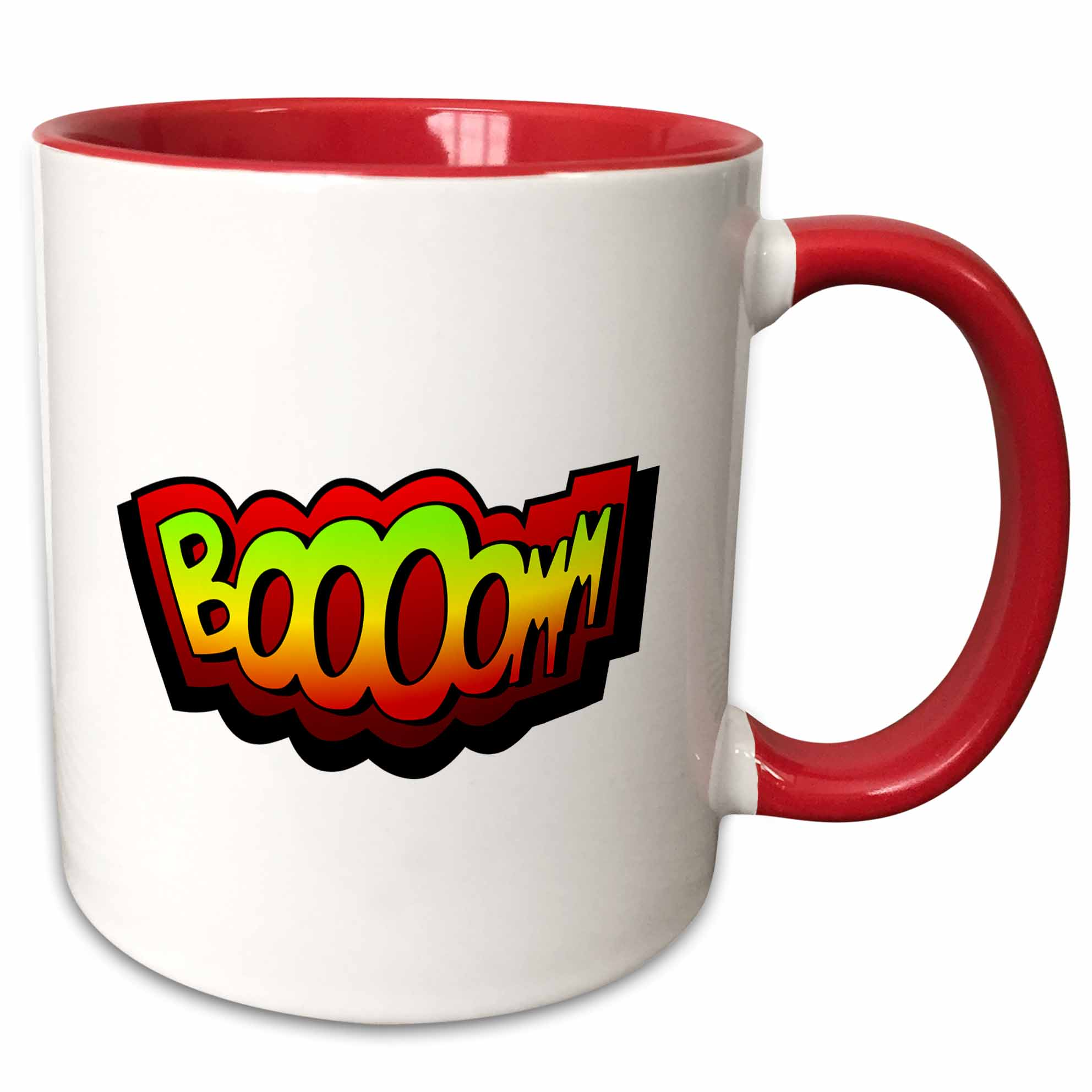 3dRose Super hero fight expression Boom fist fistfight superhero Booom Boooom explosion - Two Tone Red Mug, 11-ounce