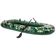 Camouflage 4 person Inflatable boat PVC Unbranded 8FT Boat for Fishing Rafting Drifting Diving Water Sports with Oars & Pump - Green