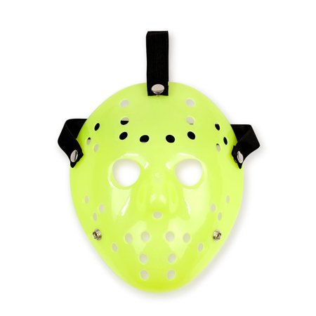 Jason Hockey Mask | Glow-In-The-Dark Friday The 13th Mask | Sized for Adults (Scary Hockey Mask)