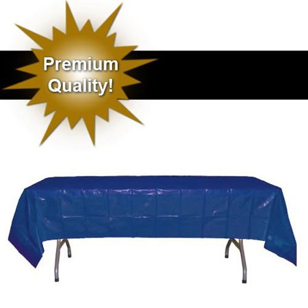 Exquisite 12 Pack Navy Blue Plastic Tablecloth, 108 x 54 Inch (Blue Gingham Plastic Tablecloth)
