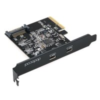 dodocool SuperSpeed USB 3.1 PCI-Express Card with Dual Reversible Type-C Ports 5V 15-Pin Connector Gen 2 10 Gbps Black