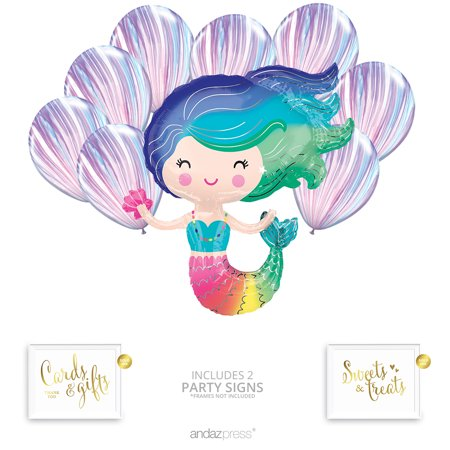 Andaz Press Mermaid Balloon Bouquet Kit, Mermaid Party Supplies, Inflatable Foil Mylar and Latex Balloons - Latex Mermaid