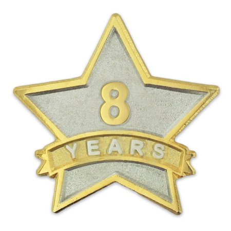 Corporate Acrylic Award (PinMart's 8 Year Service Award Star Corporate Recognition Dual Plated Lapel)