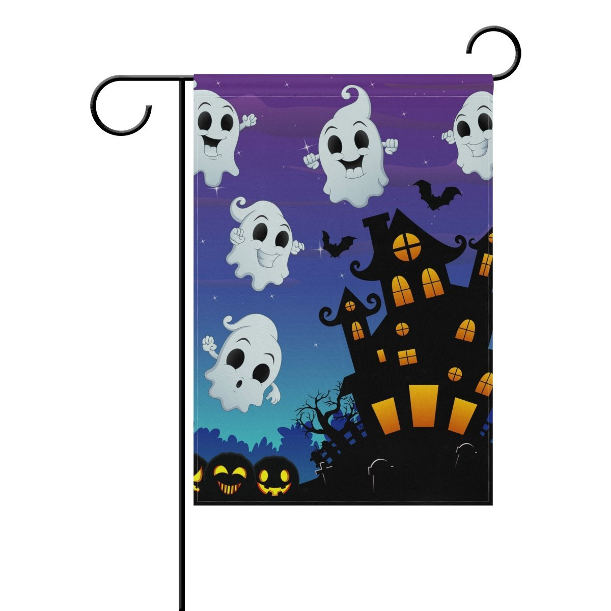 POPCreation Halloween Castle And Ghost Polyester Garden Flag Outdoor Flag Home Party Garden Decor 28x40 inches