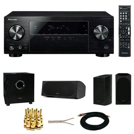 Pioneer VSX-532 5 1ch AV Receiver w/Ultra HD Pass-through w/HDCP 2 2 +  Pioneer Andrew Jones Designed 100W Powered Subwoofer +Bookshelf Speaker +  Dual