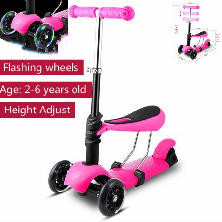 Christams Sale! 3-in-1 3 Wheels Mini Kick Scooter for Kids with Seat & Flashing Wheels,Toddler Scooters with Adjustable Handle T-Bar Birthday Gift for Baby Boys Girls Age 2 to 10