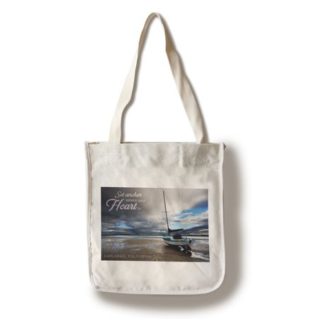 Carlsbad, California - Set Anchor Where Your Heart Is - Beached Sailboat - Lantern Press Photography (100% Cotton Tote Bag -