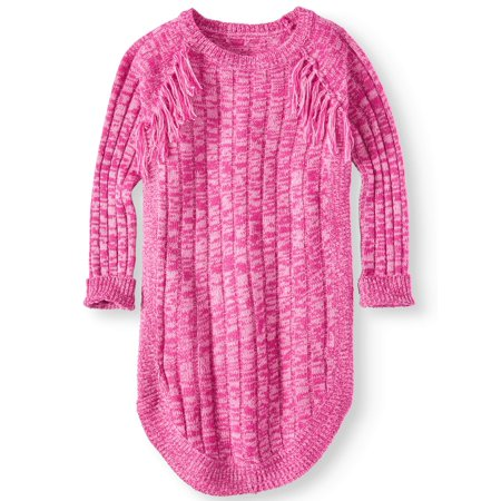 Pink Angel Little Girls' 4-6X Fringe Long Sleeve Sweater Dress (Little Girls) - Party Dresses For Girls 7 14