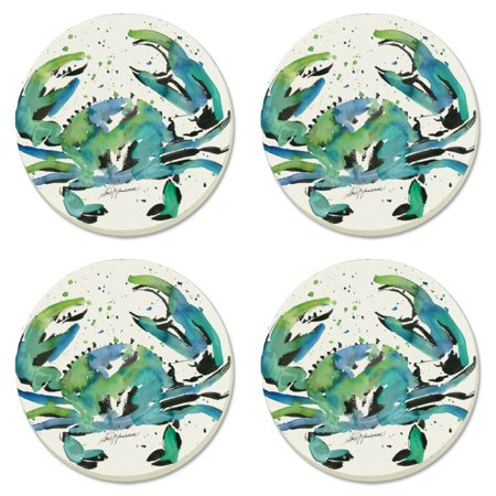 Maryland blue brushed crab stone absorbent round coasters set of 4 - Stone absorbent coasters ...