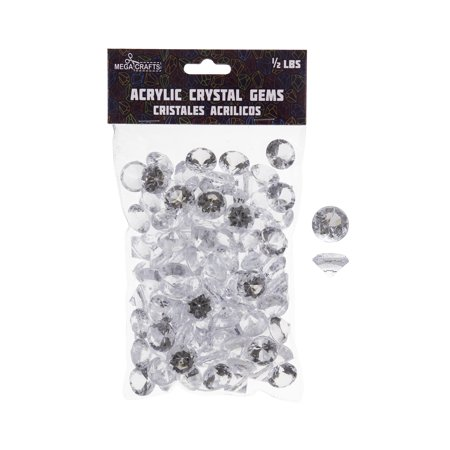 Mega Crafts - 1/2 lb Acrylic Small Diamonds Clear | Plastic Glass Gems For Arts And Crafts, Vase Fillers And Table Scatters, Decoration Stones, Shiny Pebbles - Table Scatter Gems