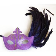 Glitter Eye Venetian, Masquerade, Mardi Gras Mask W/Feathers Style E