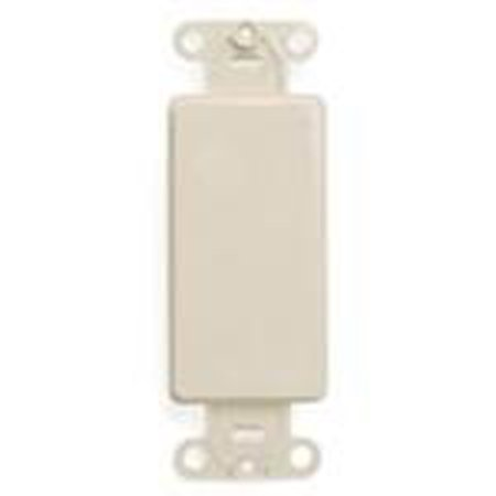 Leviton 80414-T Blank Decora Adapter, No Hole, Plastic, Light (Holes Almond)