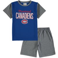 Montreal Canadiens Fanatics Branded Toddler Nostalgia Poly Two-Piece T-Shirt & Shorts Set - Blue/Heathered Gray