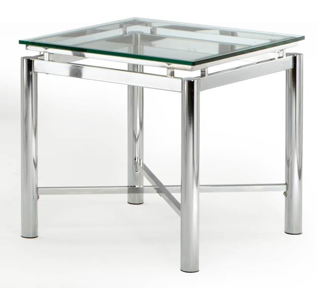 Nova End Table w Beveled Tempered Glass Top in Chrome