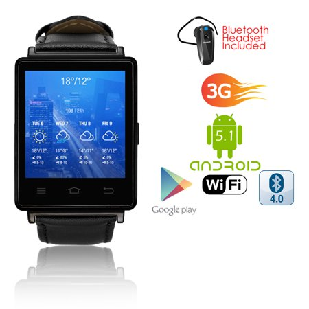 Indigi  2017 Android 5 1 3G Unlocked Smart Watch Phone Wifi   Gps Maps    Heart Rate   Google Play Store   Bluetooth