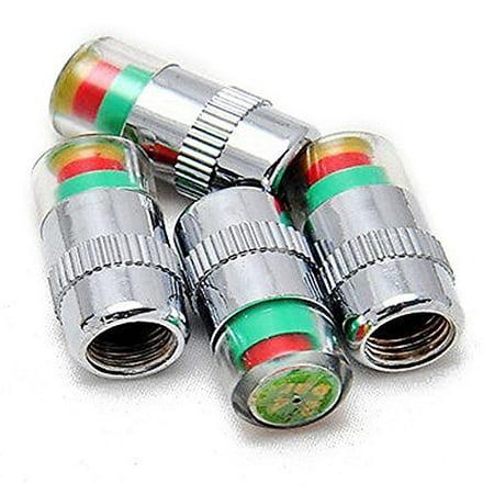 Wonder Goal 4 pcs Car Auto Tire Monitor Valve Dust Cap Pressure Indicator Sensor Eye