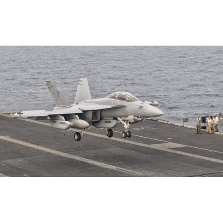 An Ea 18G Growler Landing On The Flight Deck Of Uss George Hw Bush Canvas Art   Giovanni Collastocktrek Images  18 X 11