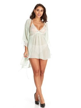 c82a262bb4cd8 Product Image Women s and Women s Plus Lace Trimmed Babydoll and Robe  3-Piece Set